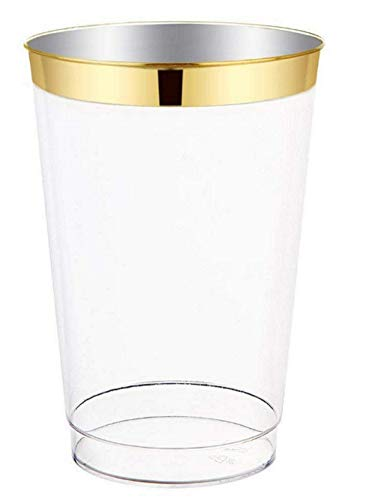 12oz Gold Plastic Cups 100 count- Elegant Heavy Duty Clear Plastic Disposable Cups/Tumblers With Gold Rim- Perfect for Weddings, Parties & Special Occasions- Simply Soirée ()