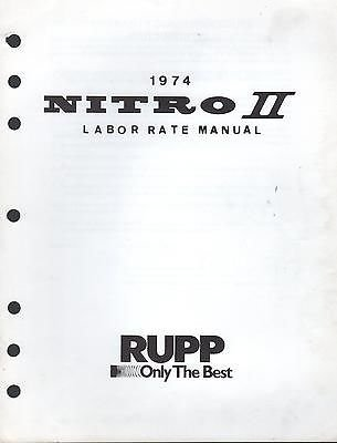 VINTAGE 1974 RUPP NITRO II SNOWMOBILE LABOR RATE (Motorcycle Labor Guide)