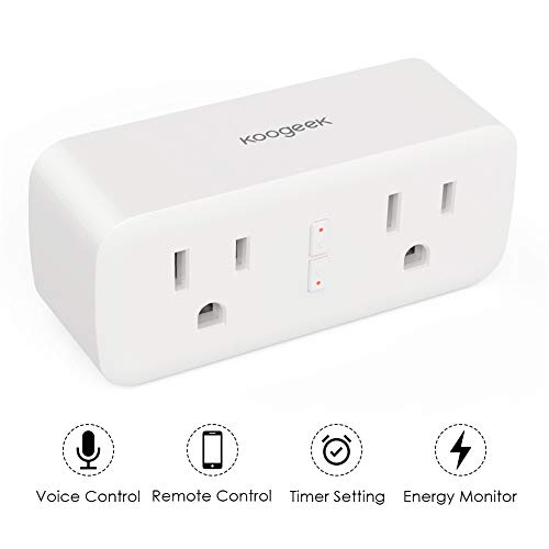 Smart Plug, Wifi Outlet Compatible with Alexa, Google Home, IFTTT for Voice Control or Remote Control, Koogeek 2 in 1 Smart Socket with Timer, No Hub Required, ETL FCC, Only Supports 2.4GHz Network