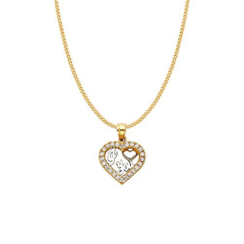 14k Two-tone Gold Cubic Zirconia 'I Love You' Heart Pendant with 0.8-mm Yellow Gold Square Wheat Chain by Precious Stars (Image #1)
