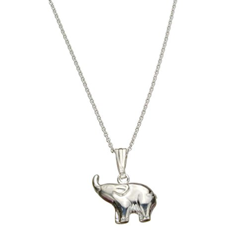 Sterling Silver Elephant Pendant Cable Chain Necklace Italy, 24