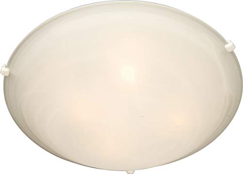 Maxim 2681MRWT Malaga 3-Light Flush Mount, White Finish, Marble Glass, MB Incandescent Incandescent Bulb , 8W Max., Damp Safety Rating, 3000K Color Temp, Standard Triac/Lutron or Leviton Dimmable, Hemp String Shade Material, 560 Rated Lumens ()
