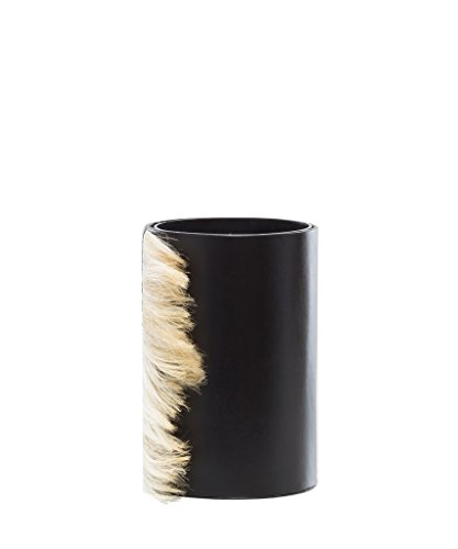 Small Black Leather Vase With Cream Horse Hair, Round Shaped, Decorative Home Decor, Glass Inserted, Modern Look