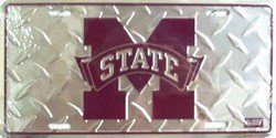 Frame Cover Aluminum Diamond Plate - Mississippi State University Bulldogs Dawg Embossed Diamond Aluminum Automotive Novelty License Plate Tag Sign