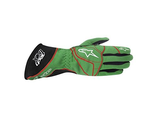 ALPINESTARS TECH 1-KX GLOVES - GREEN/WHITE/RED - SIZE M