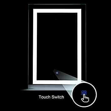 Mecor LED Lighted Bathroom Mirror Silvered Wall Mounted Mirror with Touch Button,Anti Fog and IP44 Waterproof Hanging Rectangle Vertical Mirror,36 X24
