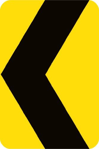 (NMC TM161K Chevron Traffic Arrow Sign - 12 in. x 18 in. Heavy Duty Intensity Reflective Aluminum Safety Sign with Black Graphic on Yellow Base)