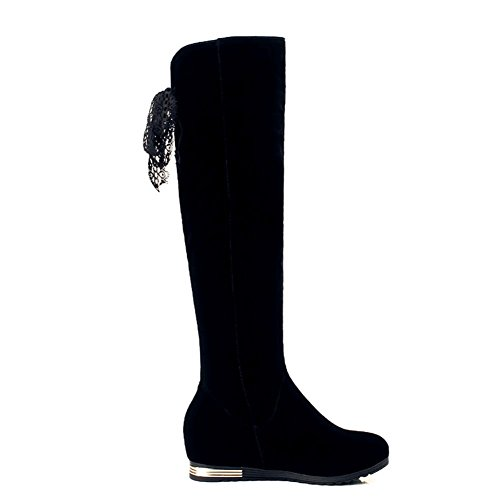 DecoStain Women's Metal Ornamented Knee High Boots Black oEuvS7