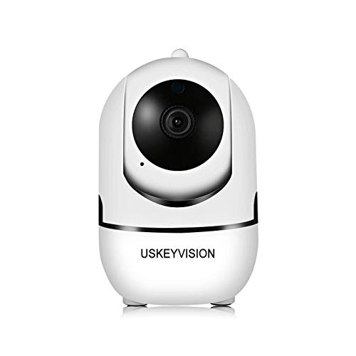 USKEYVISION WiFi Security Camera Home Cloud Pan/Tilt/Zoom Camera Auto Track 1080P HD Wireless Indoor Dome Camera Motion Tracker Two-Way Audio Night Vision APP Remote Control (White)