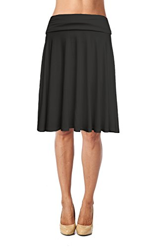 Womens Basic Soft Stretch Mid Midi Knee Length Flare Flowy Skirt Made in USA-Black,X-Large