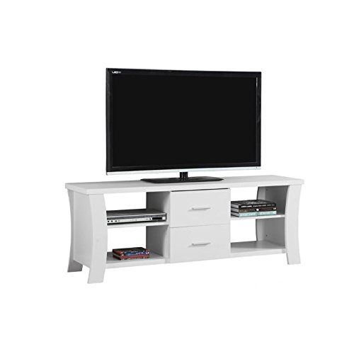 """Monarch I 2684 TV Stand with 2 Drawers, 60"""", White"""