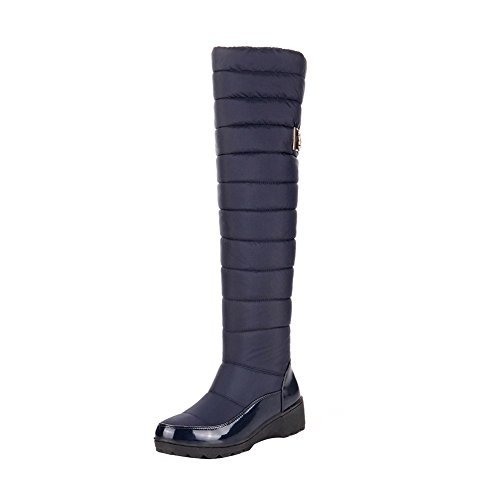 ENMAYER Womens Down Material Waterproof and Warm Snow Boots Flat Thick Heel Mid-calf Boots Blue#53 PbRTydH