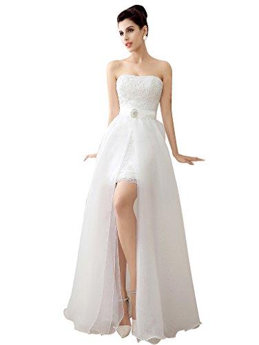 Detachable Wedding Dress.Edith Qi Fashion Latest Sleeveless Lace Sweetheart Neckline With Detachable Wedding Dress Women Dresses Online