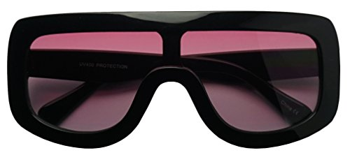 Large Oversized Full Shield Squared Bold Flat Top Sunglasses Retro goggle Shades (Black | Pink, - Men Sunglasses Sexy For