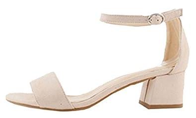 452763a626 Womens Ladies Faux Suede Ankle Buckle Strap Low Block Heel Open Toe Dressy Sandals  Shoes -