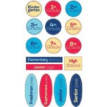 EK Success Epoxy Word Stickers - School Grades (1 Sheet)