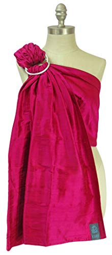 Koru Carrier Silk Ring Sling Baby Carrier, Double-Layer - Raspberry (Silver Ring/Matte) A Baby Silk Baby Sling