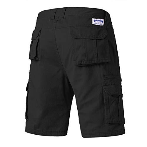 (Alimao Men's Pants Casual Pure Color Outdoors Button Pocket Beach Work Trouser Cargo Shorts Pant Black)