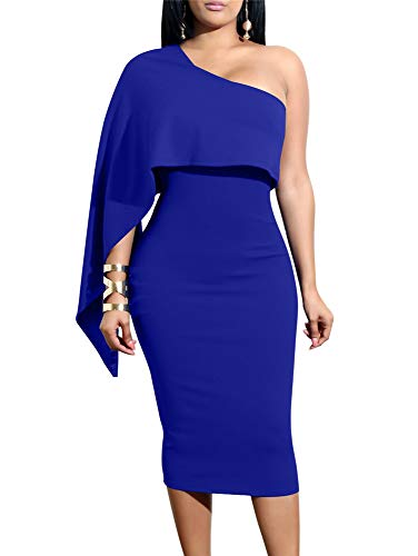 GOBLES Women's Summer Sexy One Shoulder Ruffle Bodycon Midi Cocktail Dress Royal Blue (Blue Tight Dress Sexy)