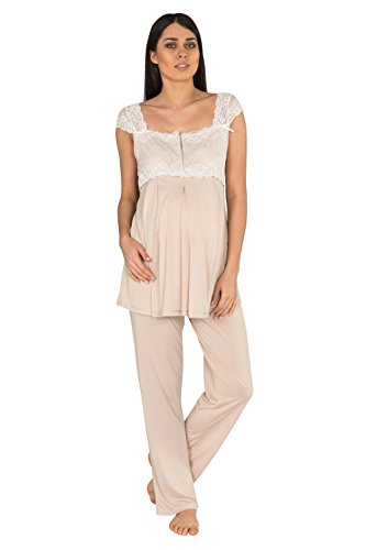 - Bondy Women's 3 Piece Maternity and Nursing Pajama Set with Pretty Lace Details Featuring Nursing Top Pants and Robe with Belt (X-Large, Cappuccino)