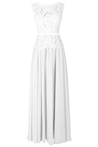 Dresstore Women's Lace long Evening Dress Backless Prom Party Dresses White US16