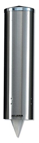 Stainless Steel Cup Dispenser (San Jamar C3450 Stainless Steel Large Pull Type Water Cup Dispenser, Fits 8oz to 12oz Cone and 12oz to 24oz Flat Cup Size, 3-1/4