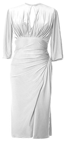 MACloth Party Length Half Cocktail Sleeve Jersey Elegant Formal Dress Weiß Knee Gown rzqYrU