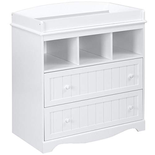 Baby Changing Unit Table Dresser Station with 2 Drawers and 3 Shelves White 93x50x88 cm Infant Babys