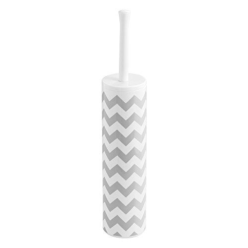 InterDesign Una Slim Toilet Bowl Brush and Holder - Bathroom Cleaning Storage, Gray Violet/White Chevron -