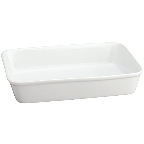 White Bakeware (HIC Oblong Rectangular Baking Dish Roasting Lasagna Pan, Fine White Porcelain, 13-Inches x 9-Inches x 2.5-Inches)