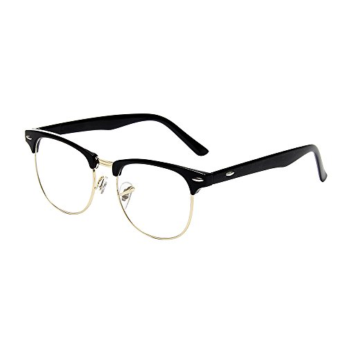 Shiratori New Vintage Classic Half Frame Semi-Rimless Wayfarer Clear Lens Glasses (Colonel Sanders Glasses)