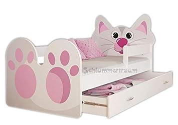 Kinderbett 140x70 mit Schublade und mit Matratze Motiv Familie der Kätzchen