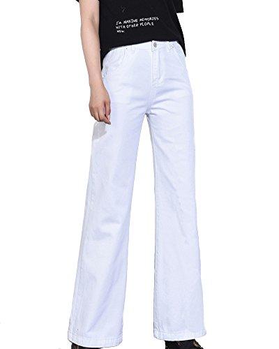 Zhuikuna Oversize Slim A Bianco Donna Jeans Medio Vita Pantaloni Zampa alta SqSx7H