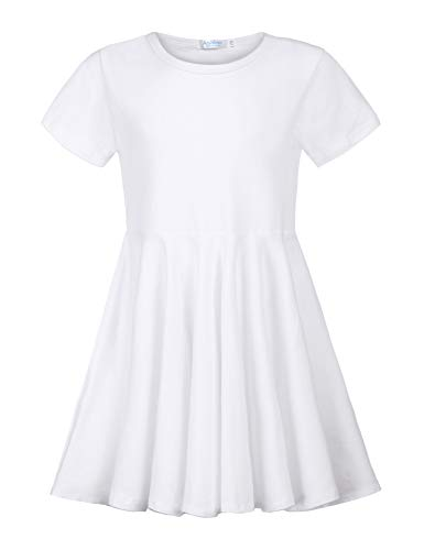 Arshiner Girls Dress Short Sleeve Christmas A Line Swing Skater Asymmetrical Hem Dress
