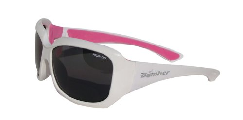 BOMBER SUGAR-BOMBS GLOSSY WHITE Frame SMOKE Lens wrap around 6-base 59mm Polarized - 6 Base Sunglasses