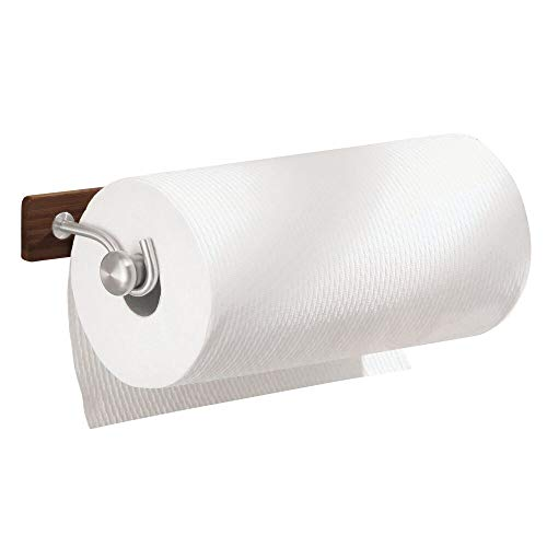 mDesign Versatile Bamboo Wall Mount Paper Towel