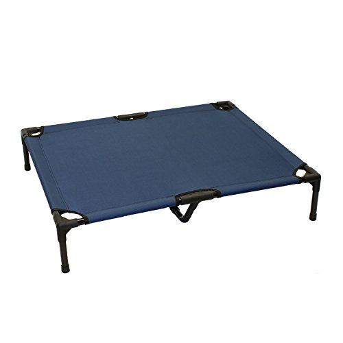 ALEKO-EDB03-L-BLUE-Basic-Plus-Elevated-Dog-Bed-Pet-Bed-Steel-Frame-36-x-30-x-7-Inches-Blue-Color