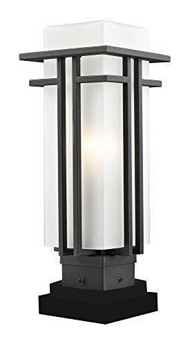 Bk Opal Matte - Z-Lite 549PHM-SQPM-BK Outdoor Pier Mount Light with Black Aluminum Finish, Matte Opal shade by Z-Lite