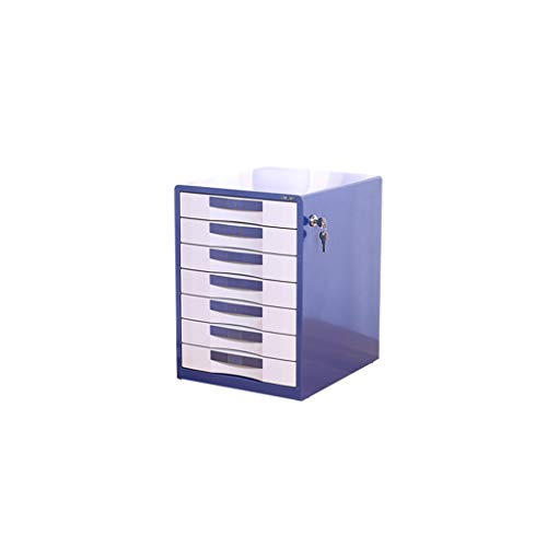 File cabinets LITING Metal Cabinet Seven-Story Office with Lock Drawer Storage Box A4 File Box Desktop (Color : Blue, Size : 300mm350mm410mm)