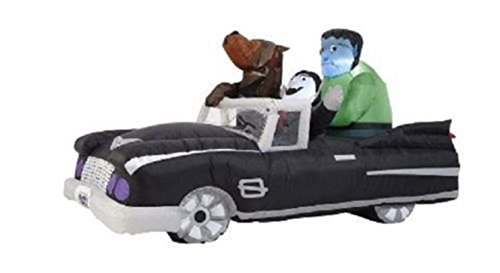Haunted Living Airblown Inflatable 8ft Halloween Animated Car with Dracula Frankenstein]()