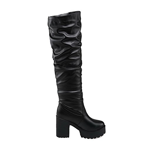 AllhqFashion Womens Round Closed Toe Pull-on PU Solid High-Heels Boots Black PUiPccuC