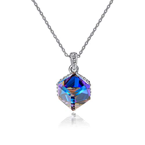 EVEVIC Color Changing Cubic Swarovski Crystal Pendant Necklaces for Women Girls 14K Gold Plated Jewelry (Blue Crystal/Silver-Tone)