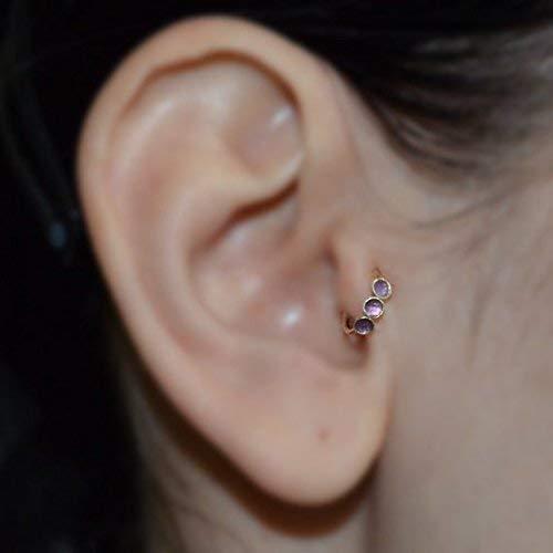 Amethyst Tragus Earring Gold Nose Ring Rook Earring Cartilage Hoop Forward Helix Earring Septum Ring Tragus Piercing 16 Gauge