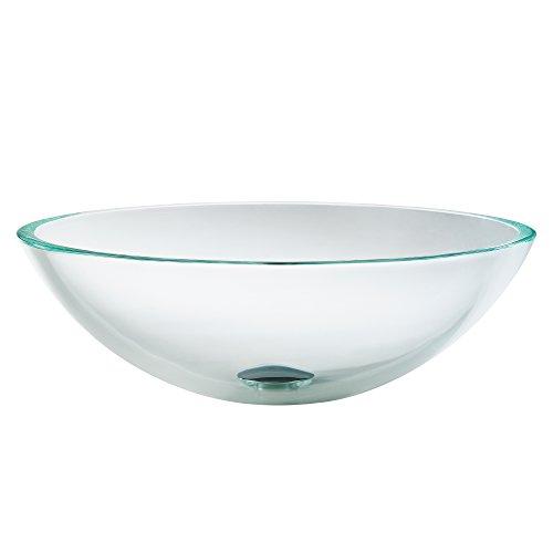 Kraus Clear Glass Sink - Kraus GV-100 Crystal Clear Glass Vessel Bathroom Sink