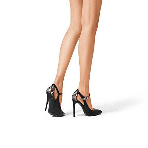 Boutonnière en Talons Femmes Cuir EU36 UK4 Hauts Hauts à Black Couleur Blanc Taille CJC Talons Pointues Serpentine Chaussures à Chaussures à pour CfqE55Iw