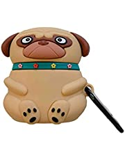Hemobllo Silicone Wireless Earbuds Case Cover Cute Pug Shaped Headset Box Cover Shockproof Protective Case with Anti Lost Hook Compatible for Airpods 1 2