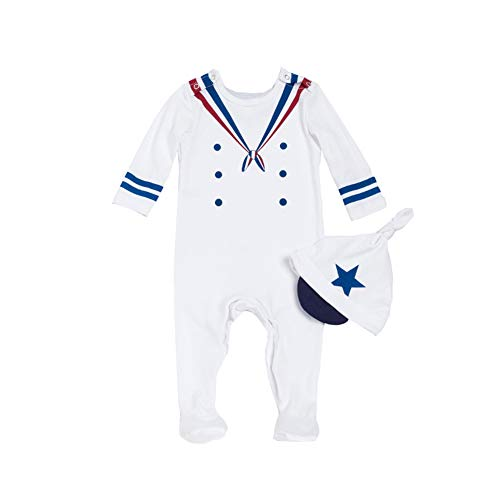 ALLAIBB Newborn Baby Boy Costume Footie Naval Sailor Uniforms Cosplay Outfit with Cap Size 66 -