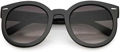 582d4a3b51c63 zeroUV - Round Retro Oversized Sunglasses for Women with Colored Mirror and  Neutral Lens 53mm