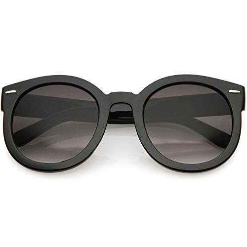 zeroUV - Round Retro Oversized Sunglasses for Women with Colored Mirror and Neutral Lens 53mm ()