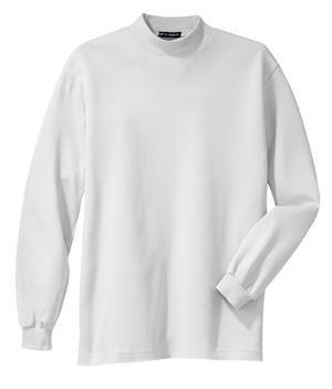 Cotton Interlock Turtleneck (Upscale 100% Cotton Interlock Mock Turtleneck Tee - White, Small)